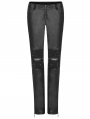 Black Gothic Punk Handsome Tight PU Leather Pants for Women