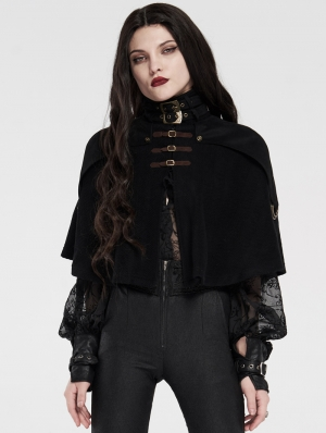 Black Gothic Short Steampunk Cape for Women