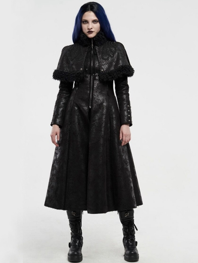Black Gothic Imitation Fur Long Cape Coat for Women