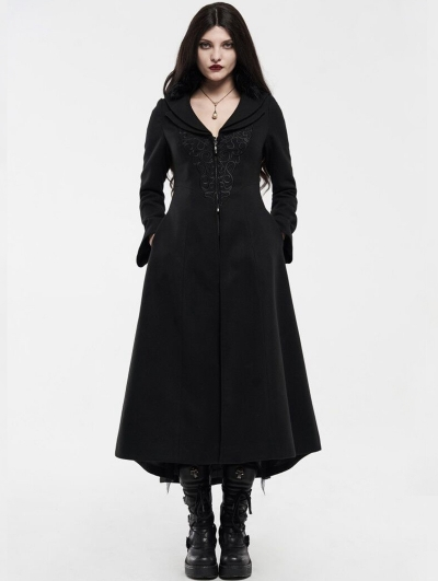 Black Gothic Embroidered Wool Long Winter Coat for Women
