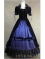 Black and Blue Short Sleeves Gothic Victorian Dress