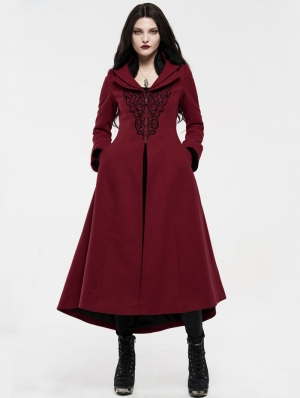 Red Gothic Embroidered Wool Long Winter Coat for Women