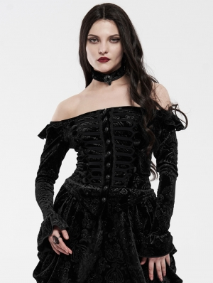 Black Gothic Victoria Royal Palace Velvet Shirt for Women