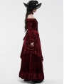 Red Gothic Victoria Royal Palace Velvet Shirt for Women