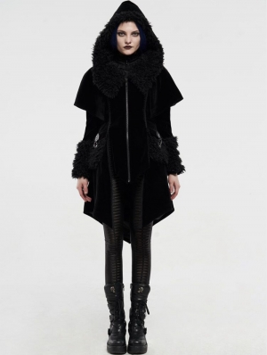 Black Velvet Winter Gothic Cape Coat for Women