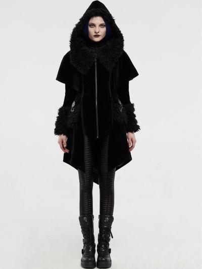 Black Velvet Winter Gothic Cape Coat for Women