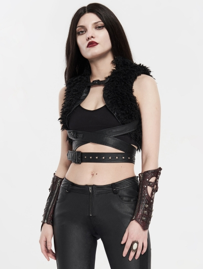 Black Winter Gothic Punk Metal Waistcoat for Women