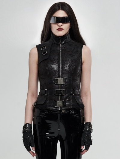 Black Gothic Heavy Punk Crack Waistcoat for Women