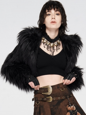 Black Gothic Punk Short Imitation Fur Coat for Women