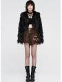 Black Gothic Punk Short Imitation Fur Coat for Women