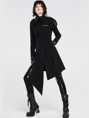 Black Gothic Military Uniform Woolen Coat for Women