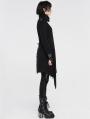 Black Gothic Military Uniform Woolen Coat for Women
