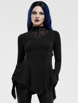 Black Retro Gothic Long Sleeve T-Shirt for Women
