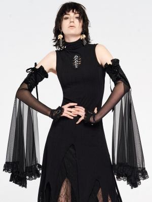 Gothic Lace Shadow Flower Long Gloves