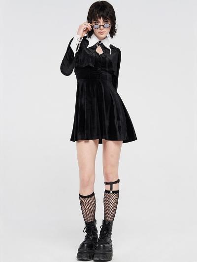 Black Velvet Gothic Dark Bat Short Dress
