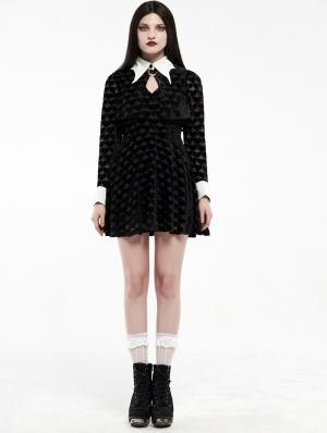 Black Velvet Gothic Dark Peach Heart Bat Short Dress