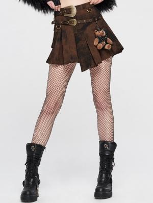 Brown Steampunk Asymmetrical Short Skirt