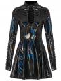 Black Fashion Gothic Punk Glitzy Sexy PU Leather Short Dress