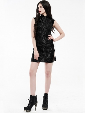 Black Chinese Cheongsam Style Cyber Gothic Short Dress