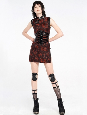 Black and Red Chinese Cheongsam Style Cyber Gothic Short Dress