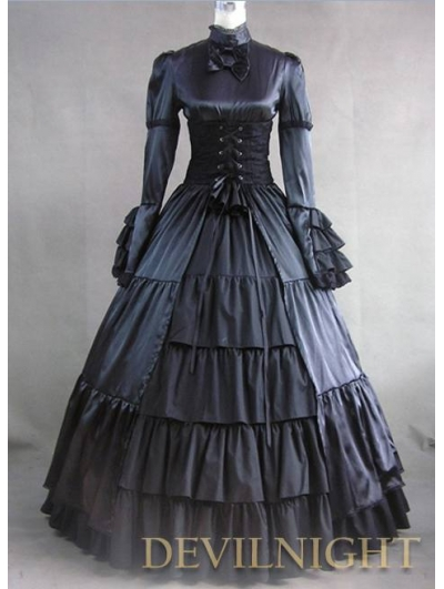 Black Ruffle and Bow Masquerade Gothic Ball Gowns