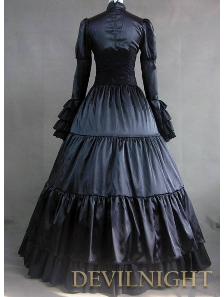 Black Ruffle and Bow Masquerade Gothic Ball Gowns - Devilnight.co.uk