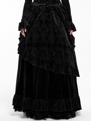 Black Gothic Victorian Gorgeous Court Long Skirt
