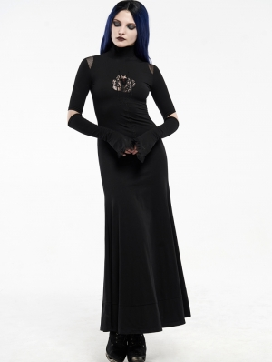 Black Gothic Red-Eyed Spider Embroidered Long Dress