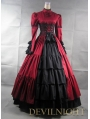 Red and Black Long Sleeves Masquerade Gothic Ball Gowns
