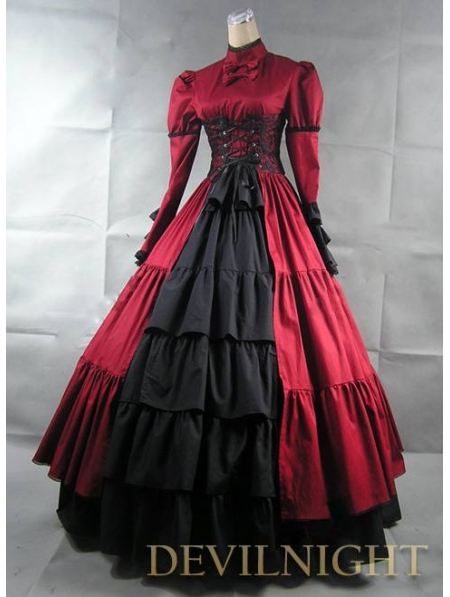 b52cacbf0277 Red and Black Long Sleeves Masquerade Gothic Ball Gowns - Devilnight ...