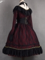 The Dusk Lady Elegant Black and Red Lace Gothic Lolita OP Dress