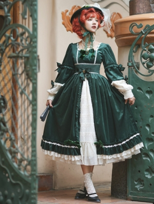 Mrs.Jennifer Elegant Green Velvet Classic Lolita OP Dress