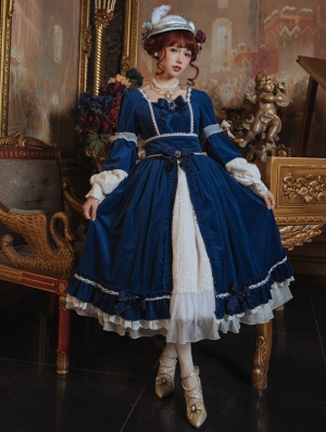 Mrs.Jennifer Elegant Blue Velvet Classic Lolita OP Dress