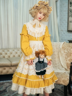 The Doll In Box Yellow Long Sleeve Cotton Classic Lolita OP Dress