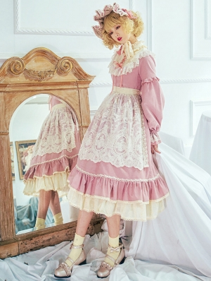 The Doll In Box Pink Long Sleeve Cotton Classic Lolita OP Dress