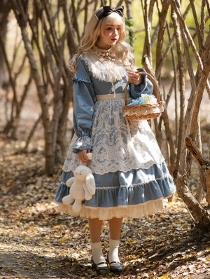 The Doll In Box Blue Long Sleeve Cotton Classic Lolita OP Dress