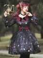 Clown's Night Black and Red Long Sleeve Gothic Lolita OP Dress