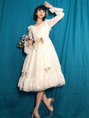 The Dawn Lady Beige Elegant French Lace Long Sleeve Classic Lolita OP Dress