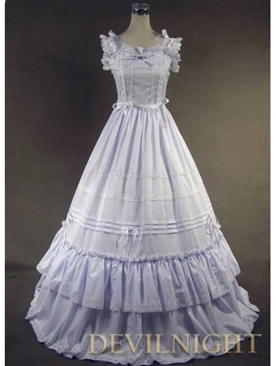 White Sleeveless Sweet Long Victorian Dress