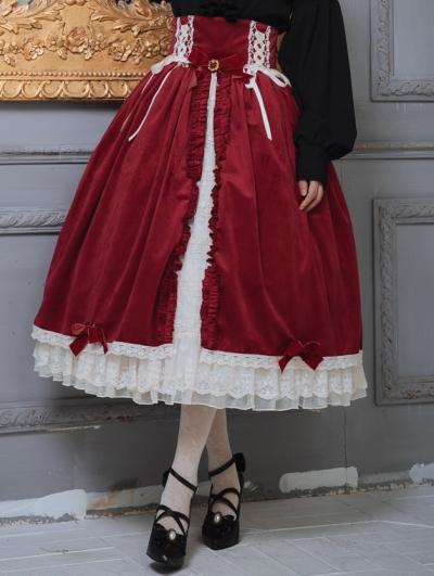 Mrs.Jennifer Red Classic Lolita Open Front Corset Skirt