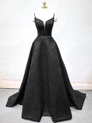 Black Sexy Jacquard Beading Gothic Wedding Dress