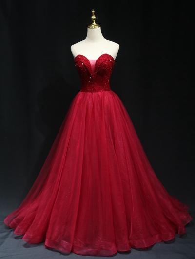 Red Sexy Deep V-Neck Beading Gothic Wedding Dress