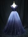 Blue Sexy V-Neck Sequins Gothic Wedding Dress