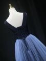 Blue Sexy V-Neck Sequins Gothic Wedding Dress