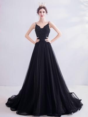 Black Sexy Lace Spaghetti Straps Gothic Wedding Dress