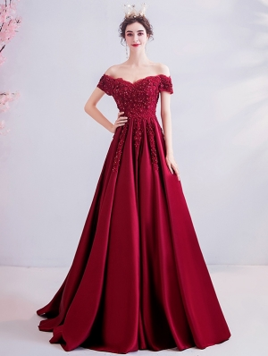 Red Off-the-Shoulder Lace Beading Gothic Wedding Dress