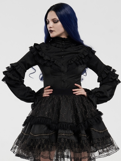 Black Gothic Gorgeous Long Sleeve Lace Shirt for Women