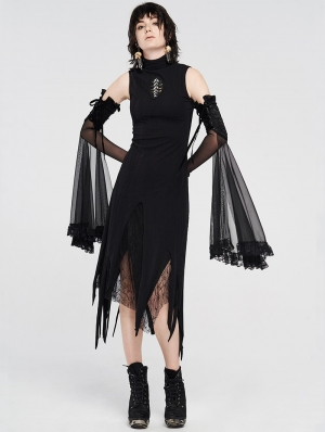 Darkness Magic Black Irregular Gothic Long dress