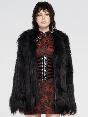 Black Gothic Punk Winter Imitation Fur Coat for Women