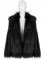 Black Gothic Punk Winter Imitation Fur Coat for Women